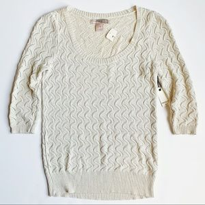 FOREVER 21 Metallic Ivory Knit Sweater